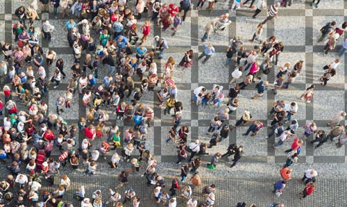 A crowd of people seen from above