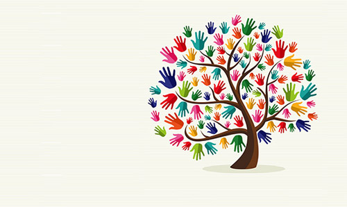 Tree made up of multicoloured hands